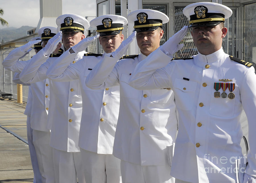 Change Of Command Photograph - Officers Render Honors During A Change by Stocktrek Images