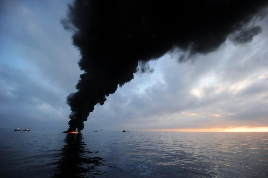 North America Photograph - Oil Spill Burning, Usa by U.s. Coast Guard