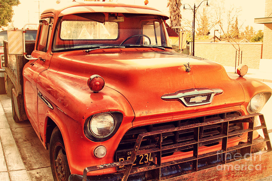 Retro Photograph - Old American Chevy Chevrolet Truck . 7d10669 by Wingsdomain Art and Photography