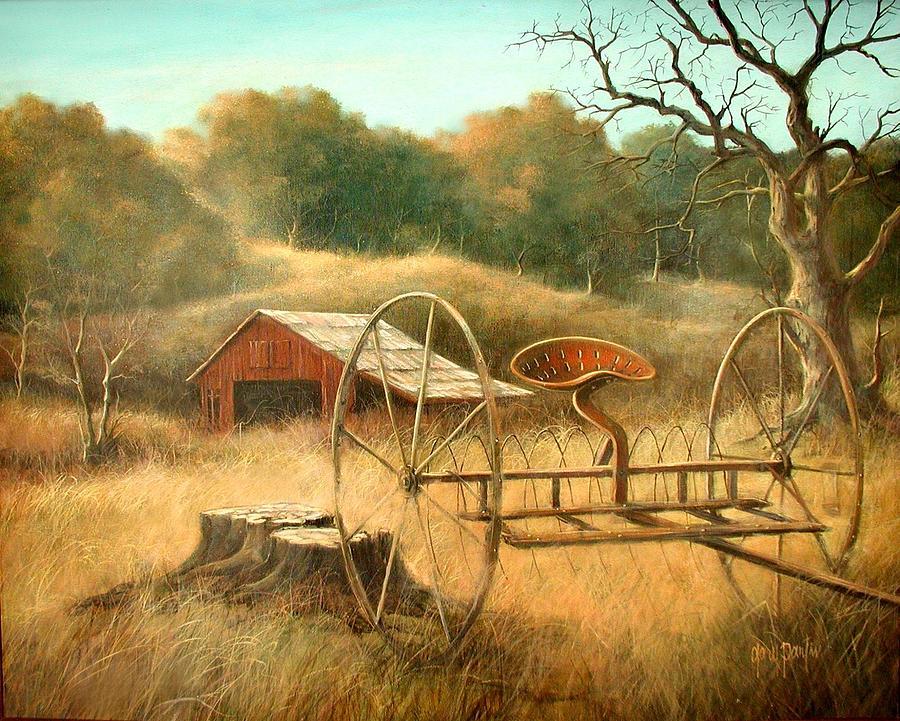 Farm Scene Painting - Old Barn and Hay Rake by Gary Partin
