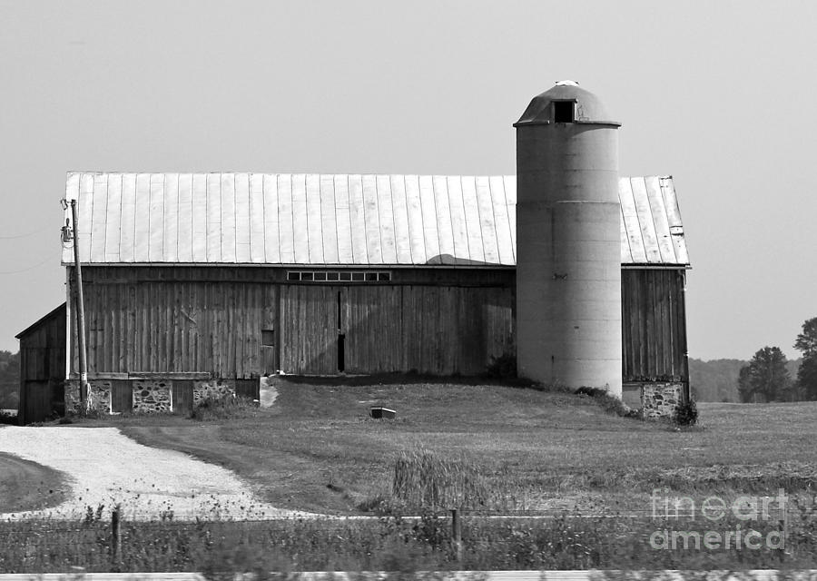 Black And White Photograph - Old Barn And Silo by Pamela Walrath