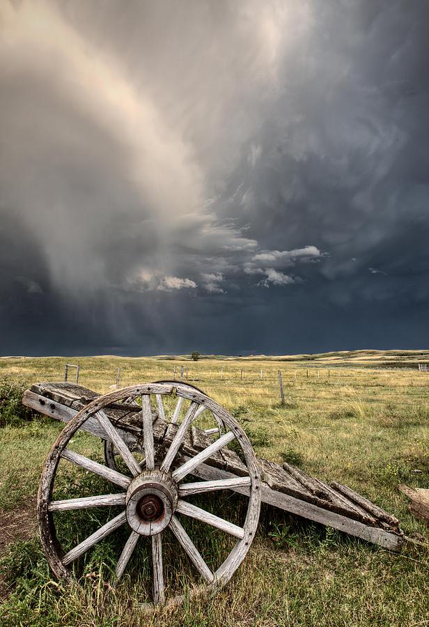 Wheel Digital Art - Old Prairie Wheel Cart Saskatchewan by Mark Duffy