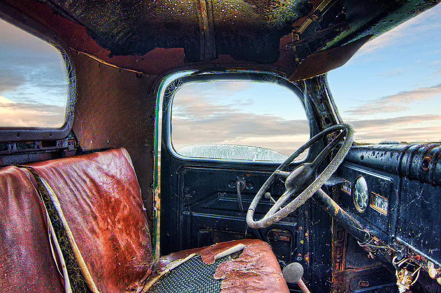 Automotive Photograph - Old Truck Interior by Tim Fleming