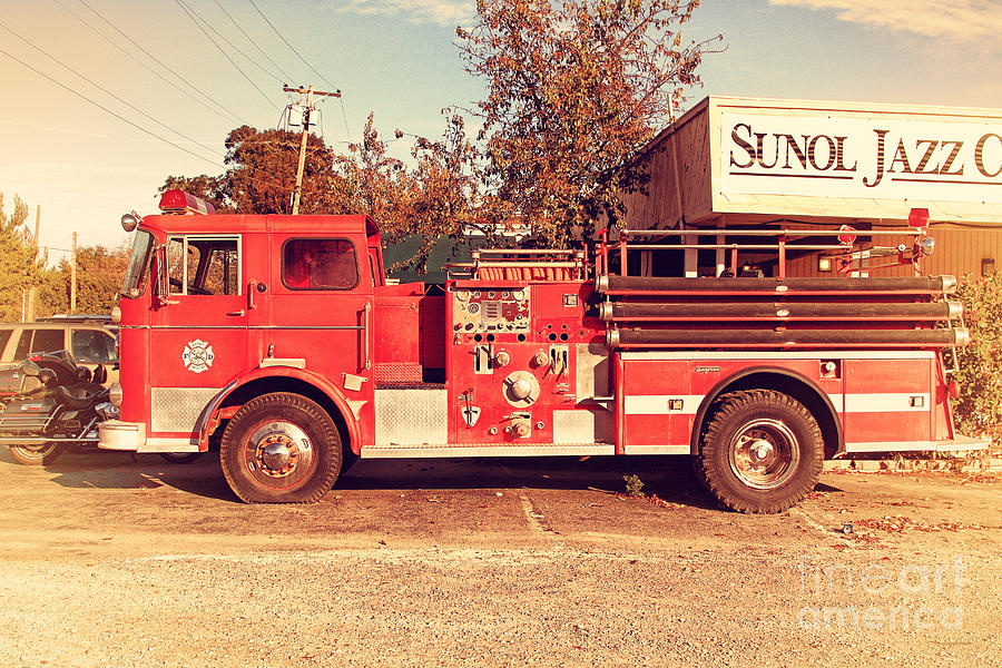 Retro Photograph - Old Whitney Seagrave Fire Engine At The Sunol Jazz Cafe In Sunol California . 7d10785 by Wingsdomain Art and Photography