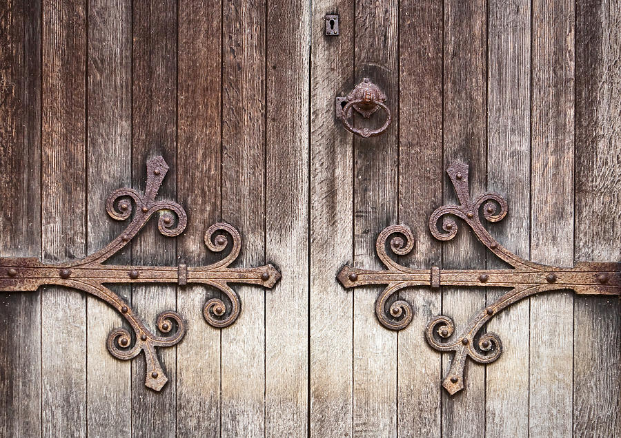 Ancient Photograph - Old Wooden Door by Tom Gowanlock