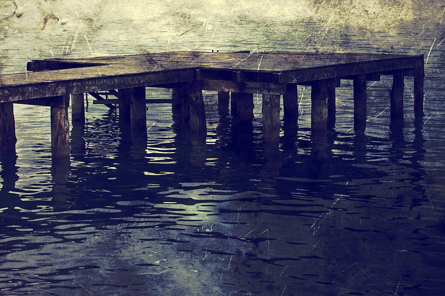 Bridge Photograph - Old Wooden Pier With Stairs Into The Lake by Joana Kruse
