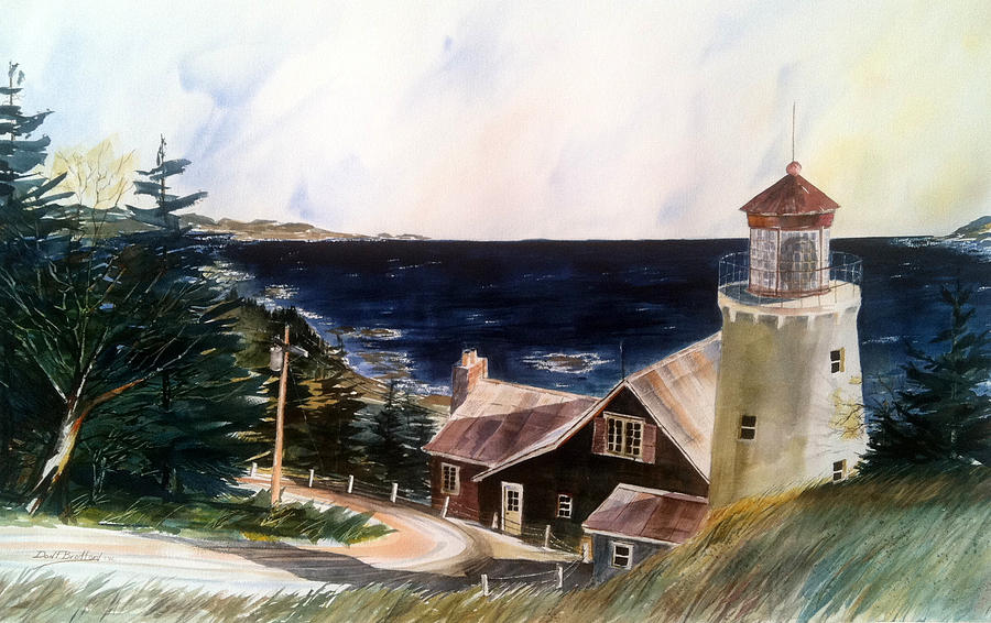 Lighthouse Painting - On A Clear Day by Don F  Bradford