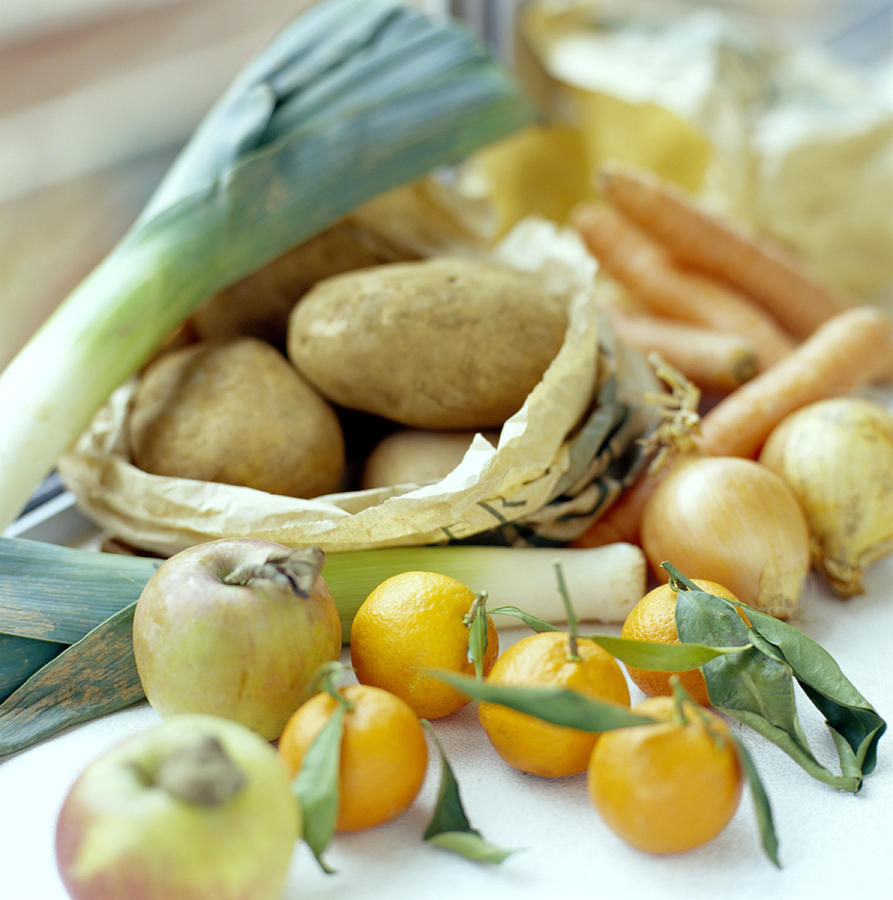 Food Photograph - Organic Fruits And Vegetables by David Munns