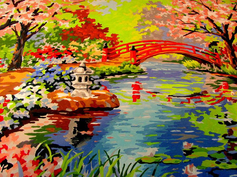 Acrylic Painting   Oriental Garden By Amy Bradley
