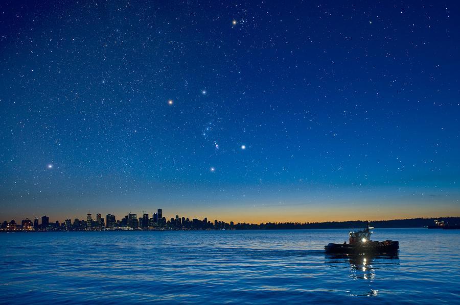 Vancouver Photograph - Orion Over Vancouver, Canada by David Nunuk