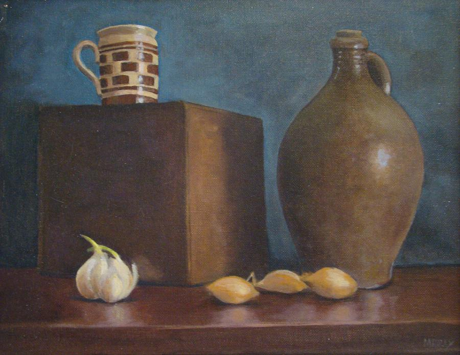 Jug Painting - Ovoid Jug With Garlic And Shallots by Mark Haley