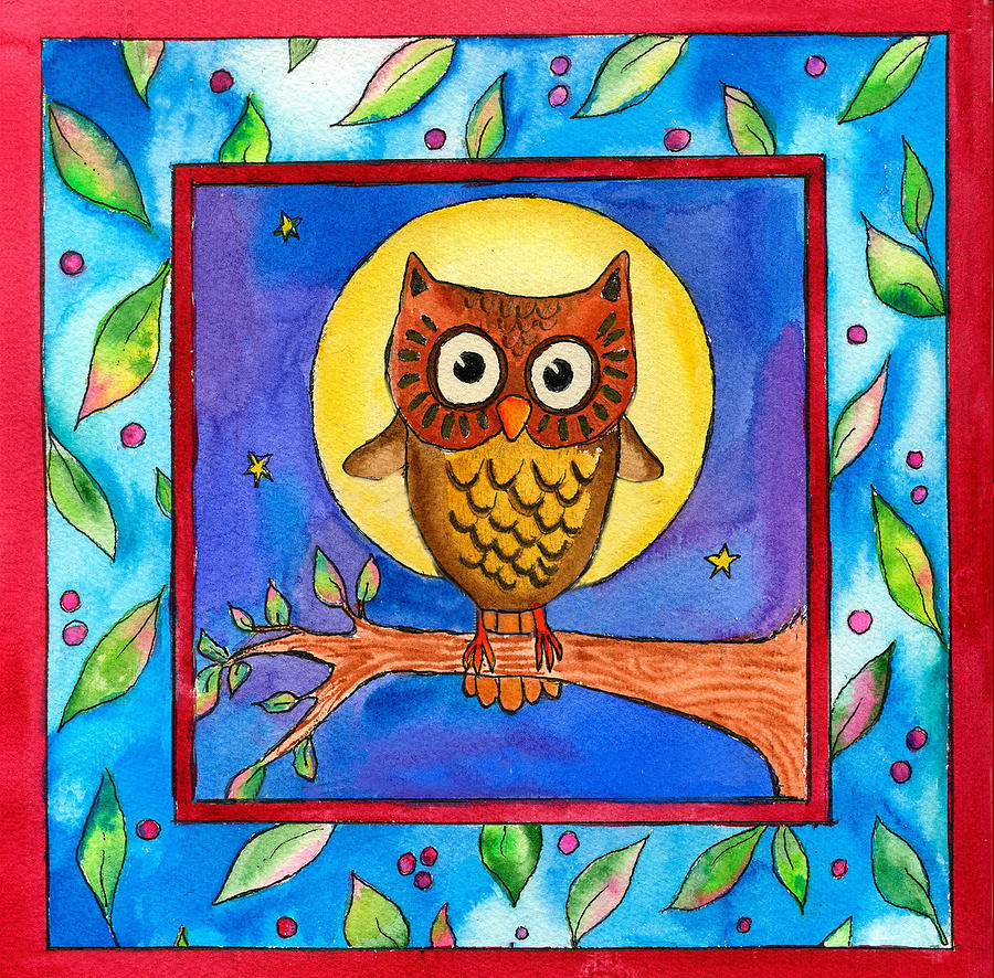 Owl Painting - Owl by Pamela  Corwin