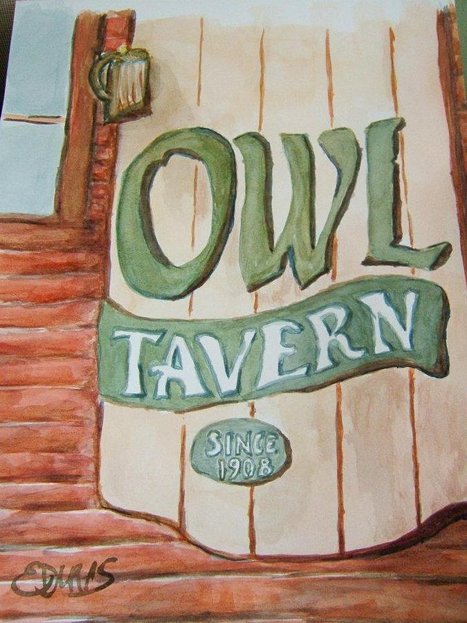 Tavern Painting - Owl Tavern by Elaine Duras