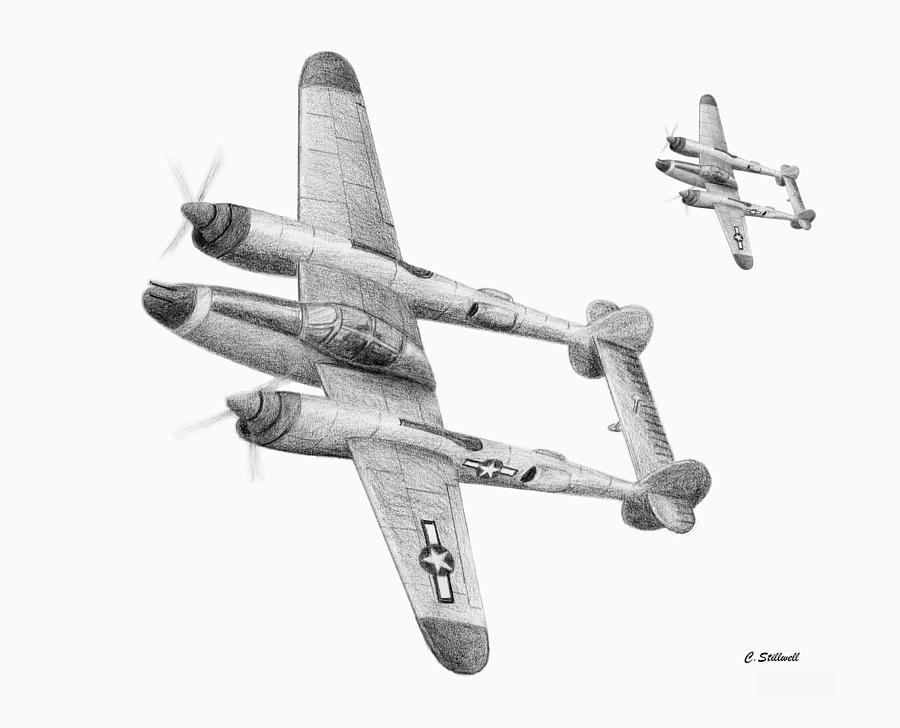 P 38 Lightning Drawings