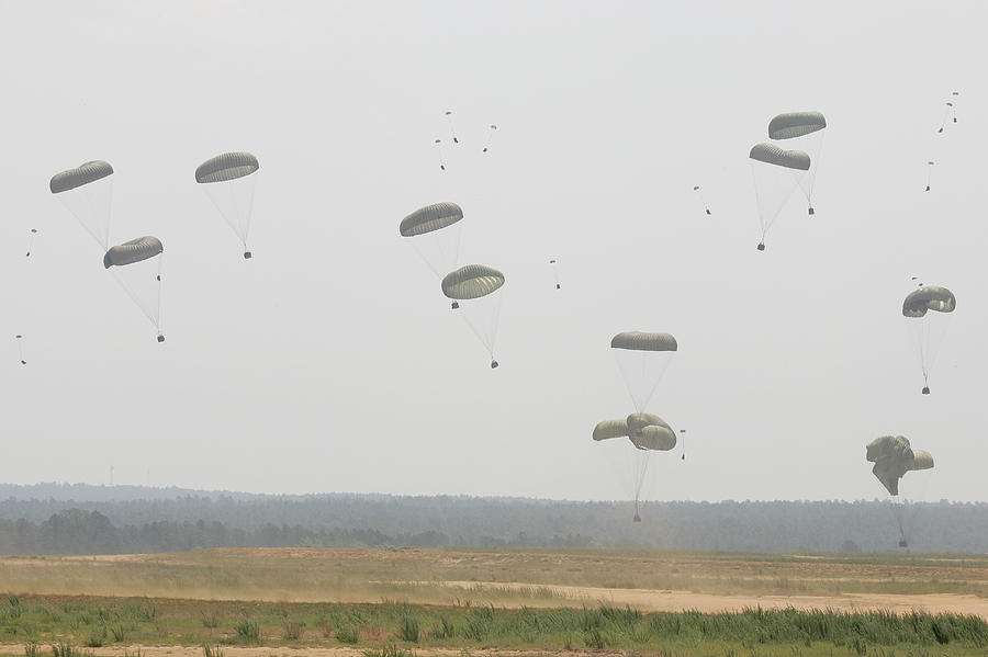 Military Supplies Photograph - Paratrooper Supplies Coming by Skip Brown