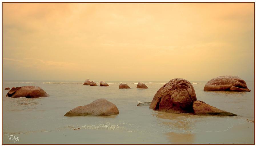 Ocean Photograph - Pastel Rocks 1 by Allan Rufus