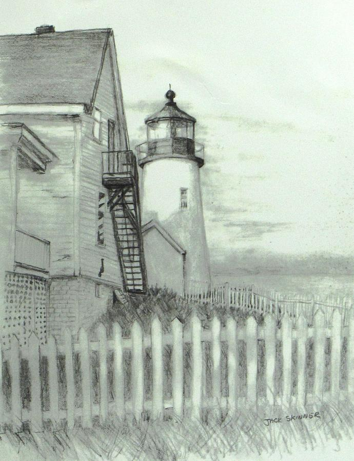 Pemaquid Lighthouse Drawing - Pemaquid Lighthouse  by Jack Skinner