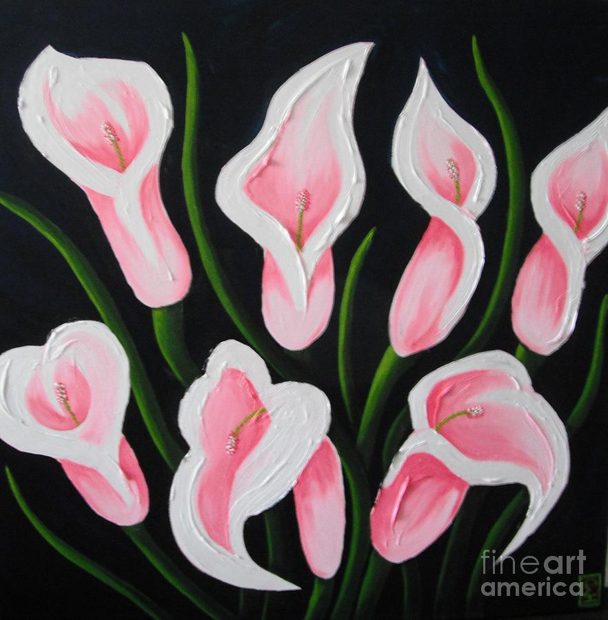 Cala Lilies Painting - Pink Bouquet by Holly Donohoe