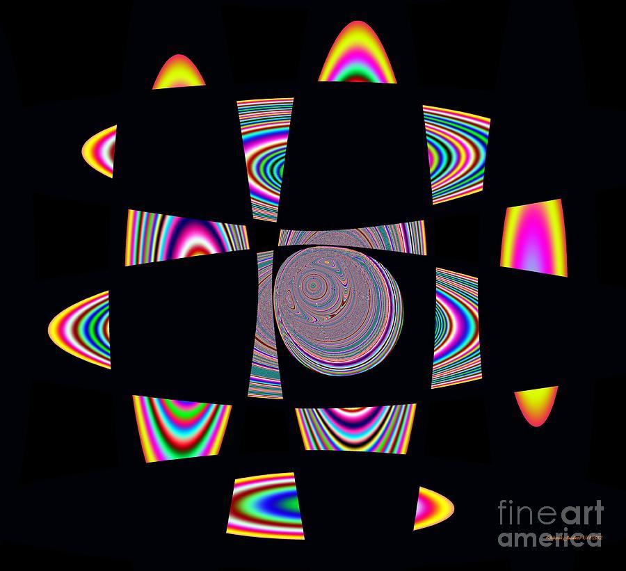 Planet Moon Digital Art - Planetary Rings Maze by Deborah Juodaitis