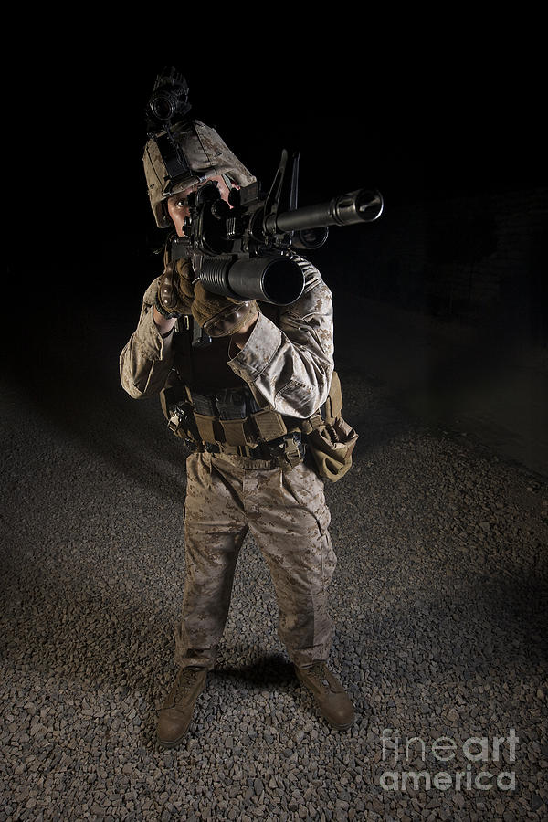 Night Photograph - Portrait Of A U.s. Marine In Northern by Terry Moore