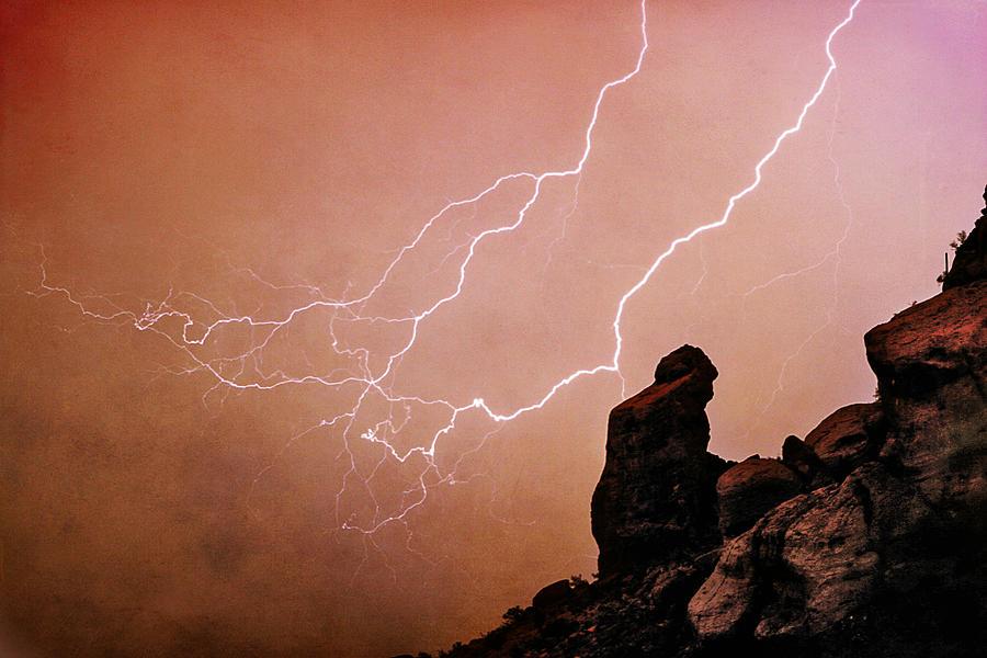 'praying Monk' Photograph - Praying Monk Camelback Mountain Lightning Monsoon Storm Image Tx by James BO  Insogna