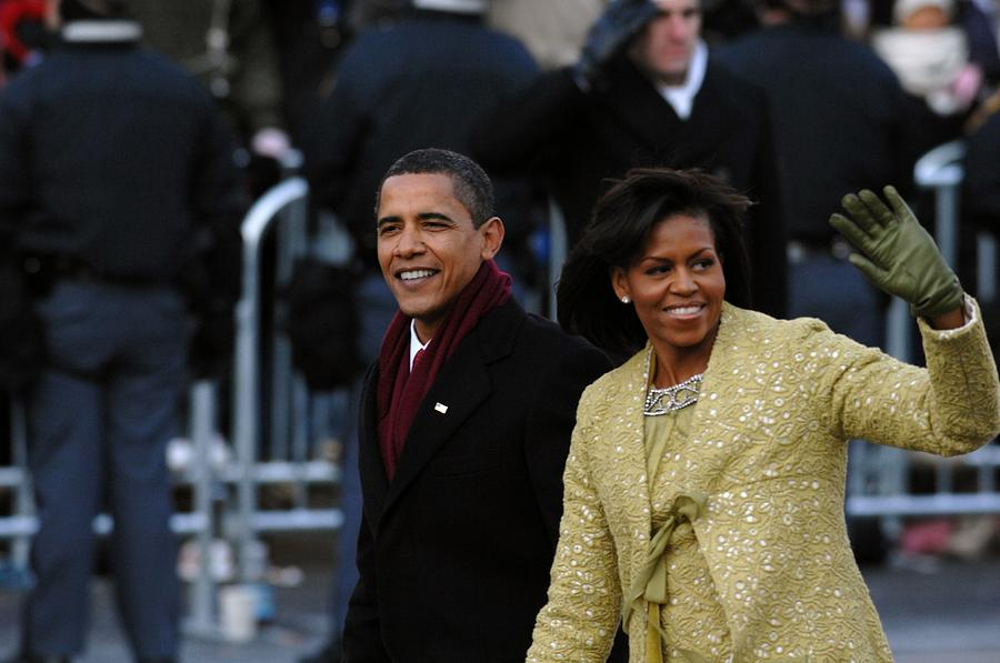 History Photograph - President And Michelle Obama Wave by Everett