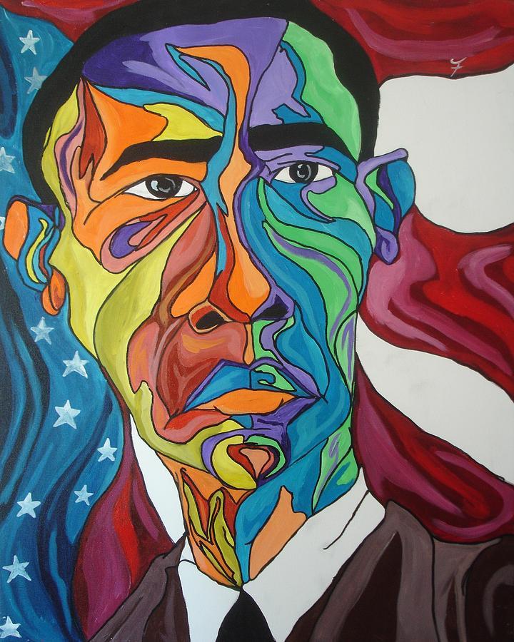 President Painting - President Obama by Jason JaFleu Fleurant