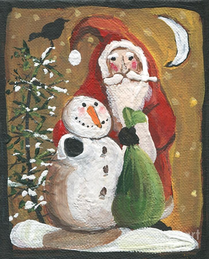 Primitive Santa And Snowman Crow Painting By Sylvia Pimental