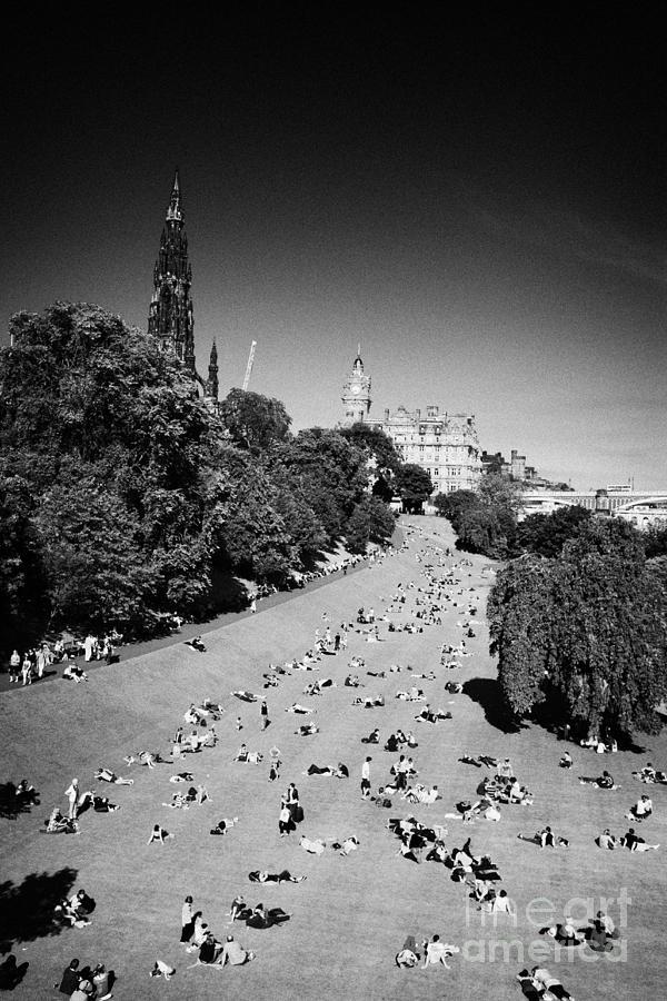 Princes Photograph - Princes Street Gardens On A Hot Summers Day In Edinburgh Scotland Uk United Kingdom by Joe Fox