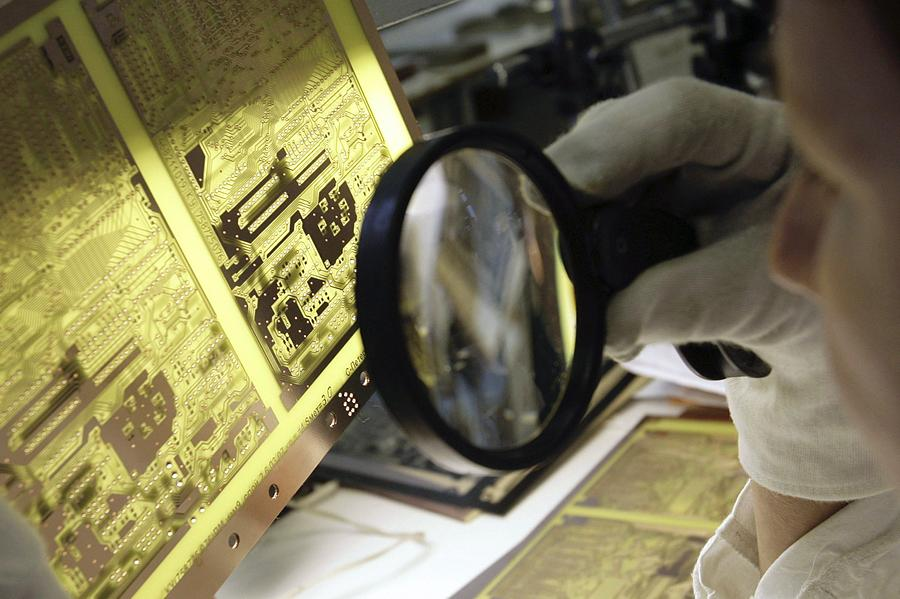 Electronic Circuit Photograph - Printed Circuit Board Production by Ria Novosti