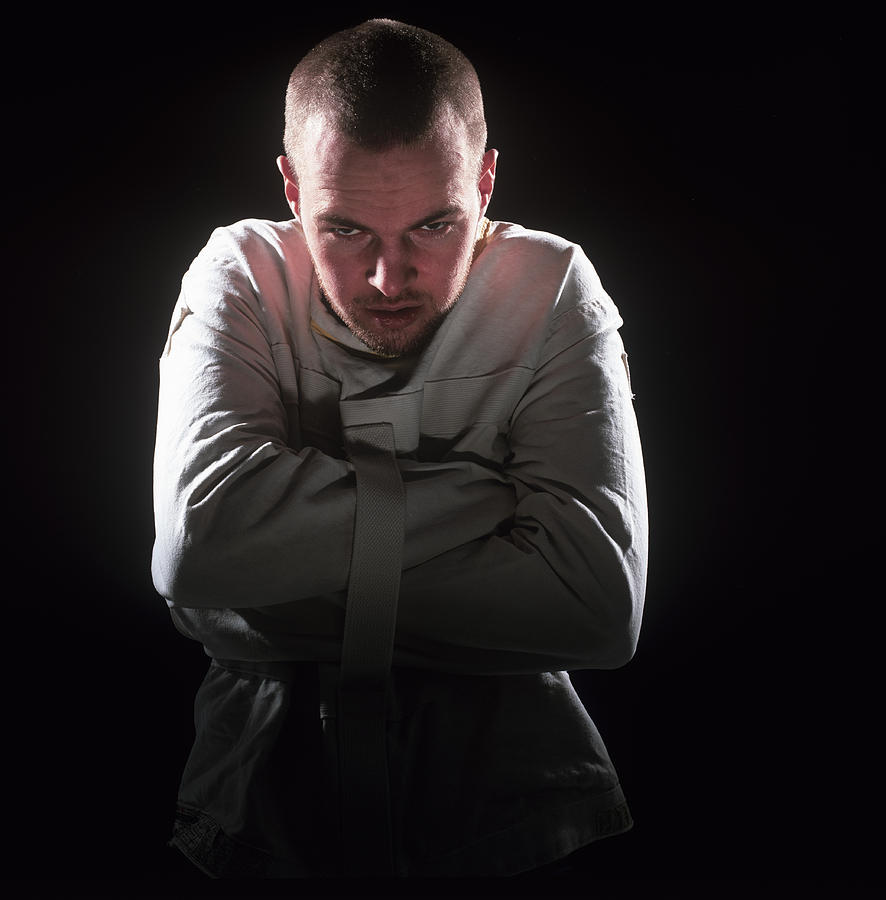 Strait Jacket Photograph - Psychiatric Patient by Kevin Curtis