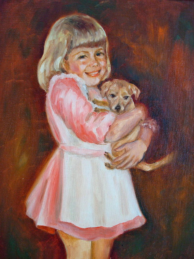 Puppy Painting - Puppy Love by Holly LaDue Ulrich