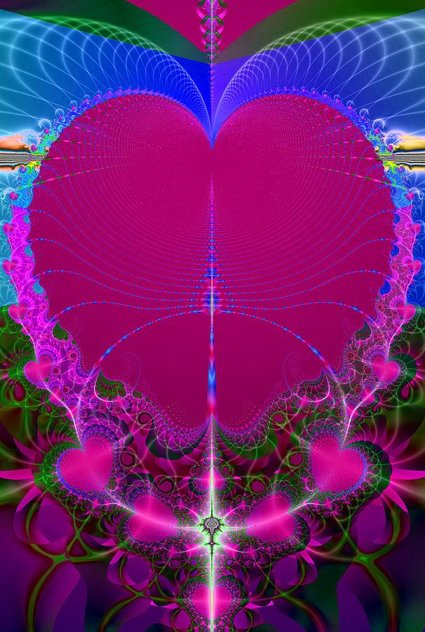 Fractal Digital Art - Queen Of Hearts by Ester  Rogers