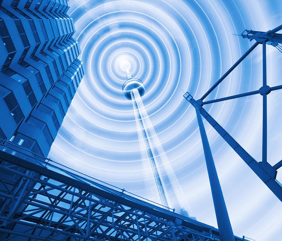 Cn Tower Photograph - Radio Tower With Radio Waves by Mehau Kulyk