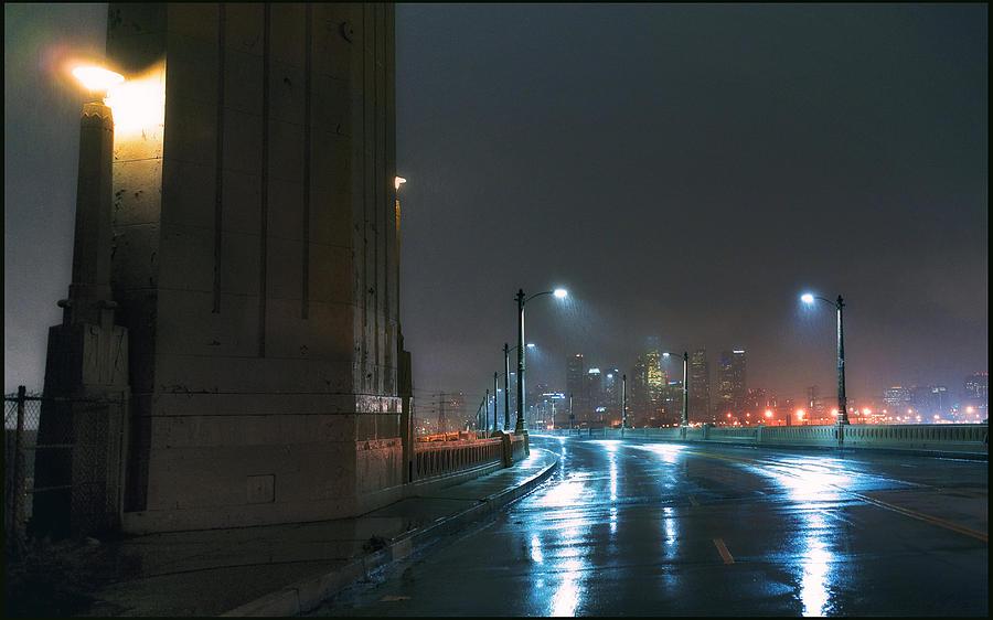 Concrete Photograph - Rain On The Sixth Street Bridge by Kevin  Break