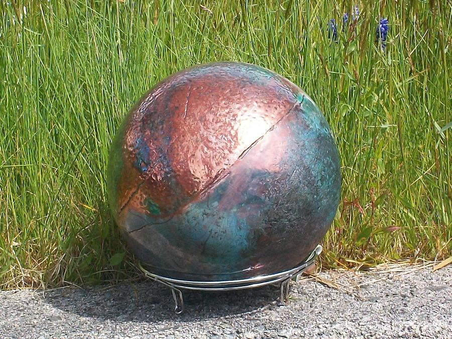 Raku Garden Globe Ceramic Art by Susan Bornstein