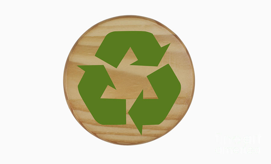 Recycle Symbol Photograph - Recycling Symbol On Wood by Blink Images