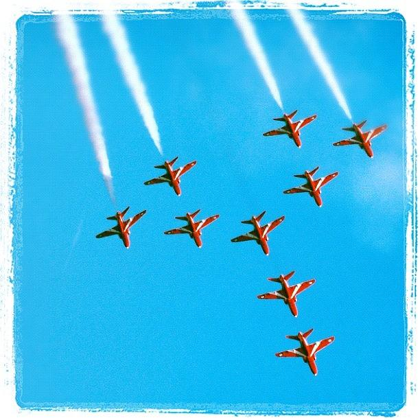 Red Arrows Photograph - Red Arrows Airshow - Aircrafts Flying In Formation by Matthias Hauser