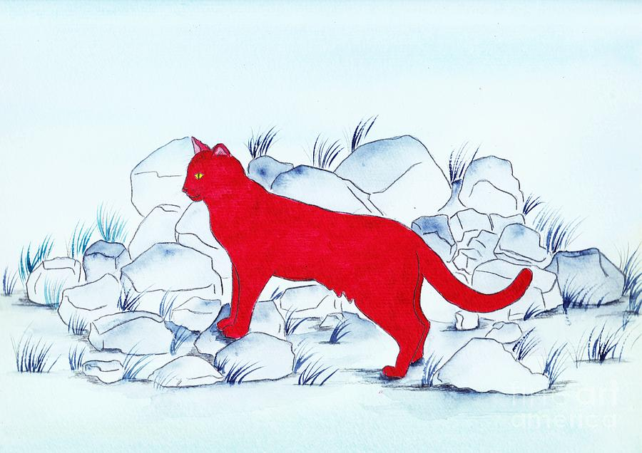 Watercolour Painting - Red Cat by Michaela Bautz