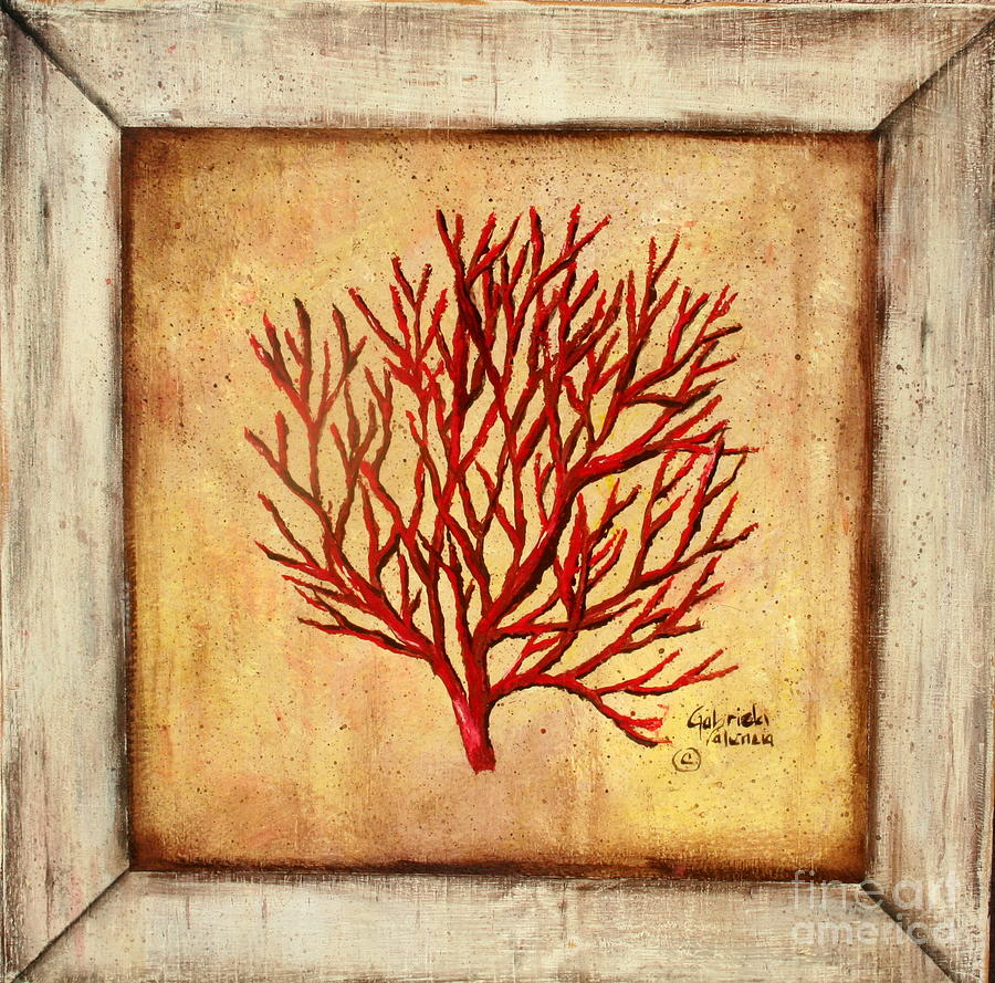 Red coral painting popular red coral print buy cheap red coral print - Red Coral Painting By Gabriela Valencia