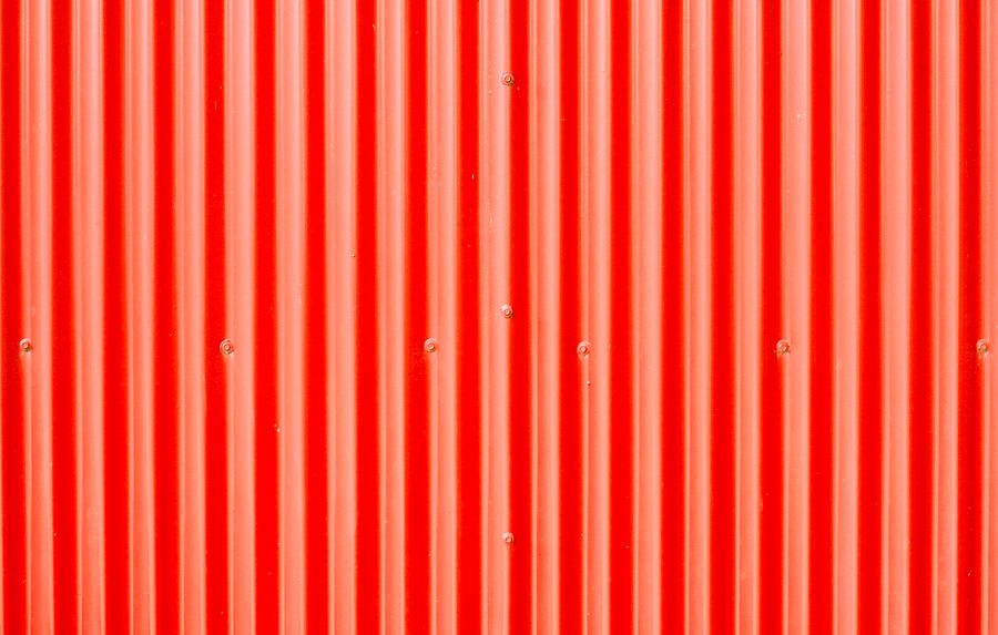 Abstract Photograph - Red Corrugated Metal by Tom Gowanlock