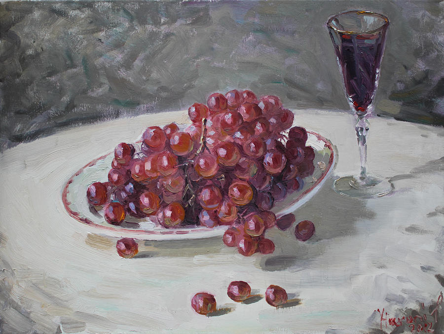 Grapes Painting - Red Grapes by Ylli Haruni