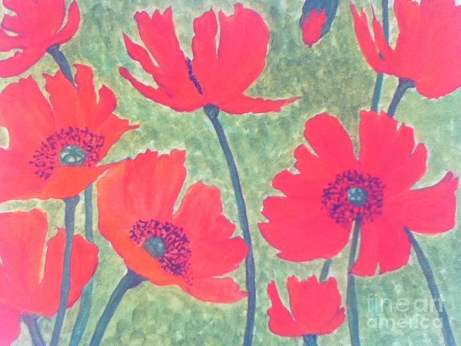 Poppies Painting - Red Poppies by Berta Barocio-Sullivan