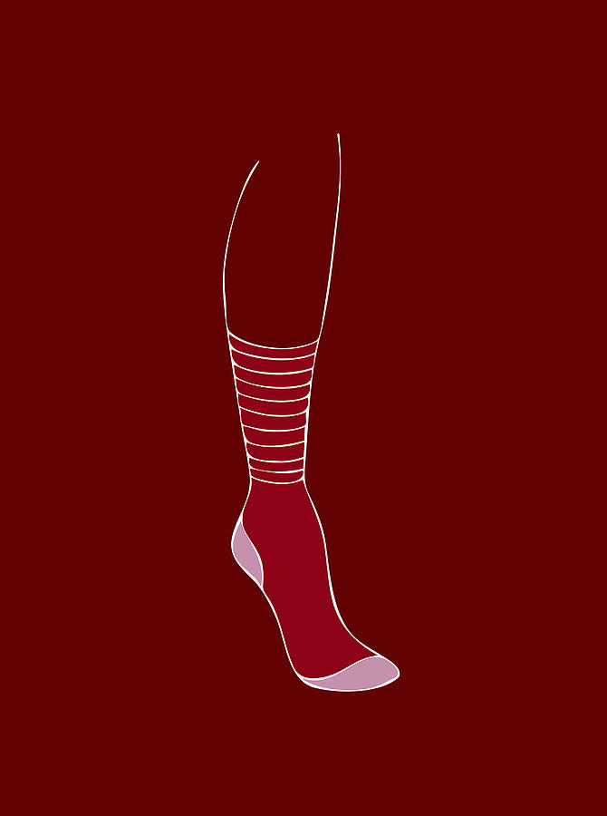 Fashion Painting - Red Sock by Frank Tschakert