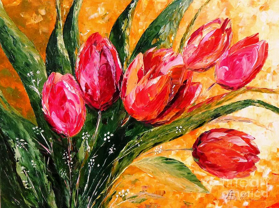 Tulips Painting - Red Tulips by Amalia Suruceanu