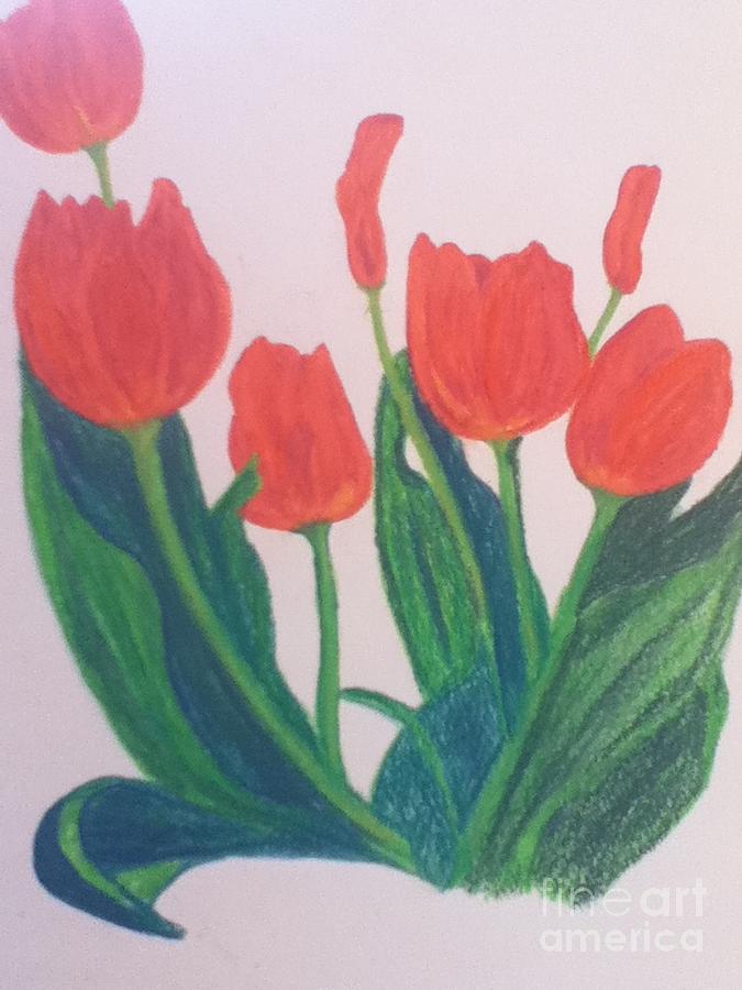 Tulips Painting - Red Tulips by Berta Barocio-Sullivan