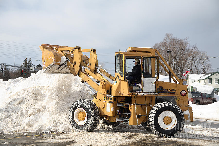 Snowstorm Photograph - Removing Snow by Ted Kinsman