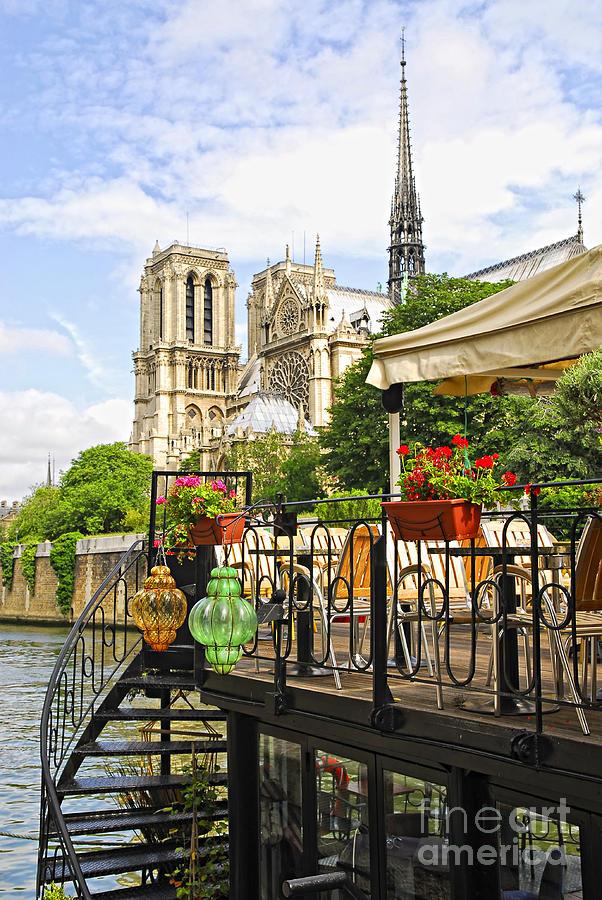 Notre Photograph - Restaurant On Seine by Elena Elisseeva