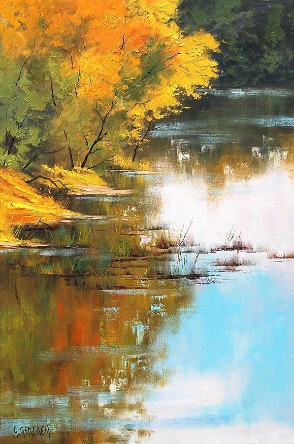 River Painting - River Bank by Graham Gercken