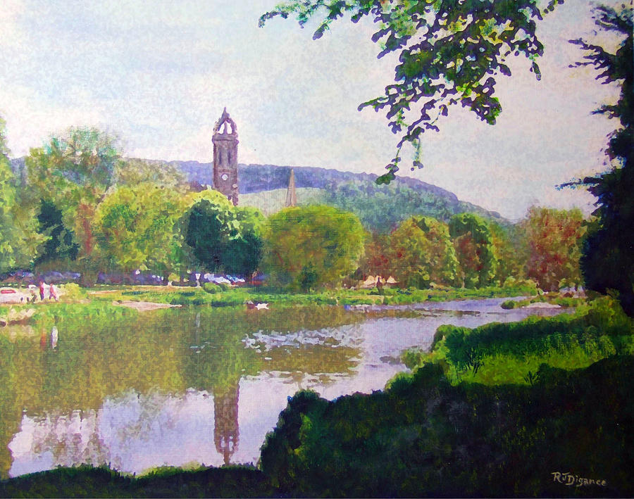 River Walk Reflections Peebles Painting